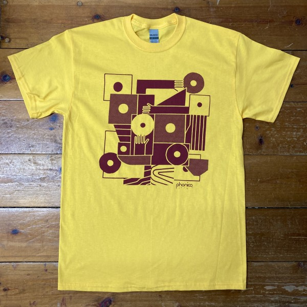 phonica-records-hands-and-sleeves-yellow-burgundy-t-shirt-small-phonica-merchandise-cover