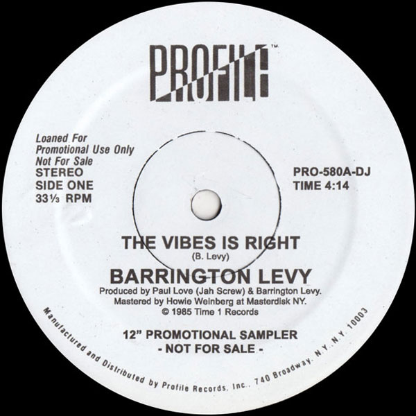 Barrington Levy The Vibes Is Right Black Roses Profile