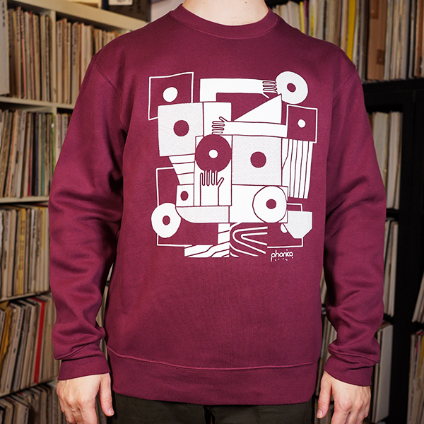 phonica-records-hands-and-sleeves-burgundy-sweatshirt-large-phonica-merchandise-cover