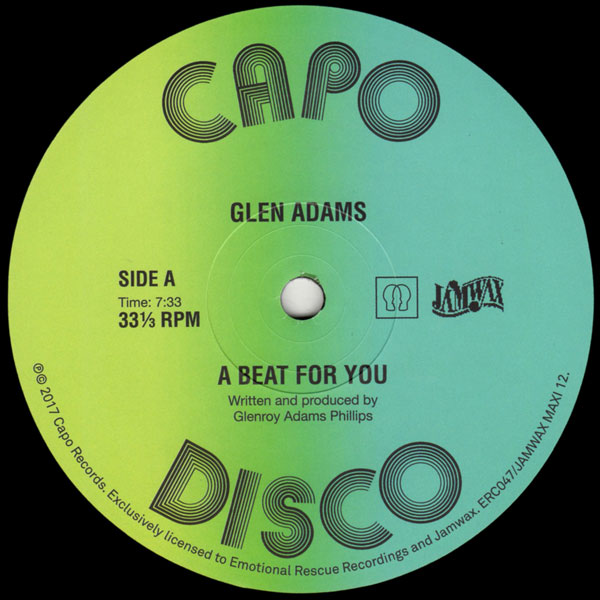 GLEN ADAMS/A Beat For You / Version/JAMWAX / EMOTIONAL RESCUE
